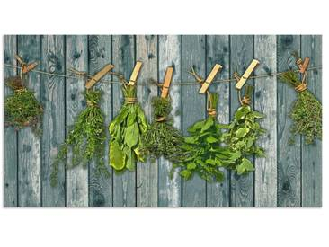 Artland Küchenrückwände »Team 5: Kräuter mit Holzoptik«, grün, 65x120 cm, Grün