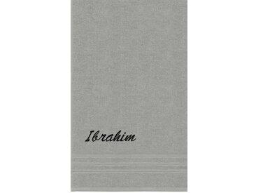Lashuma Badetuch »London«, Besticktes Saunahandtuch 100x150 cm, Personalisiertes Handtuch XXL mit Name, grau, grau