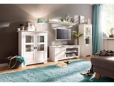 Home affaire Wohnwand »Laura«, (Set, 3-tlg), mit 1 Vitrine, 1 TV-Lowboard und 1 Highboard, weiß, weiß