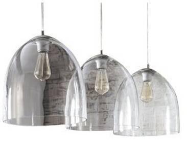 SalesFever Hängeleuchte 3 Lampenschirme 33 cm Glas »Mick«, weiß, transparent