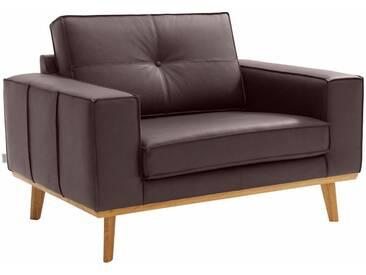 Guido Maria Kretschmer Home&Living GMK Home & Living Sessel »Janis«, Leinen oder NaturLEDER mit Eichen-Füßen und Außennaht, braun, braun
