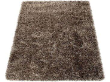 Paco Home Hochflor-Teppich »Glamour 300«, rechteckig, Höhe 70 mm, Shaggy mit weichem Glanz Garn in Uni, natur, beige