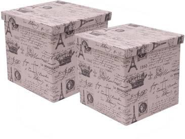 Franz Müller Flechtwaren Aufbewahrungsbox (Set, 2 Stück), mit Deckel, natur, 30x30x29 cm, beige-grau bedruckt