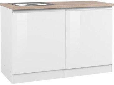 HELD MÖBEL Spülenschrank »Ohio«, Breite 120 cm, mit Tür/Sockel für Geschirrspüler, weiß, weiß Hochglanz/weiß