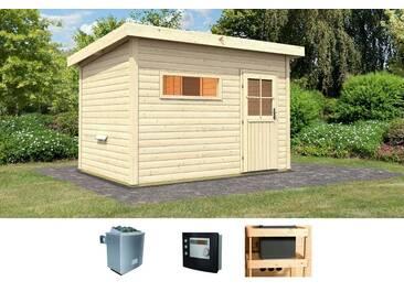 Karibu KARIBU Saunahaus »Uwe 2«, 330/231/239 cm, 9-kW-Ofen mit ext. Steuerung, natur, 9-kW-Ofen mit externer Steuerung, natur