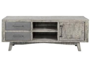 SalesFever TV-Bank mit 1 Tür und 2 Schubladen aus Mangoholz »Gino«, grau, Grau