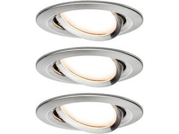 Paulmann LED Einbaustrahler »dimmbar IP23 rund Eisen Coin Slim 6,8W schwenkbar«, 3-flammig, silberfarben, 3 -flg. /, edelstahlfarben-silberfarben