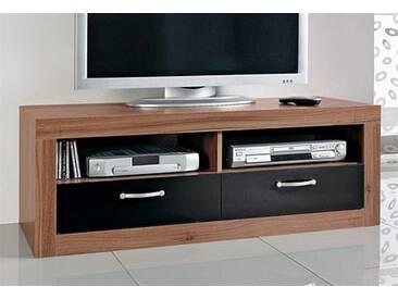 TV-Tisch, Breite 121 cm, schwarz, Ohne Aufbauservice, kernnussbaumfb.-schwarz