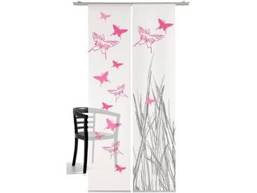 emotion textiles Schiebegardine »Schmetterling«, Klettband (2 Stück), inkl. Beschwerungsstange, rosa, Klettband, halbtransparent, pink
