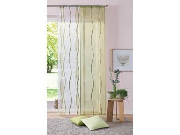 my home Schiebegardine »Dimona«, Schlaufen (2 Stück), inkl. Beschwerungsstange, natur, Schlaufen, transparent, creme-grün