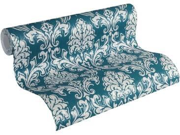 Esprit Vliestapete, »Tapete Eccentric Luxury mit neo barocken Ornamenten«, bunt, blau;grau;metallic
