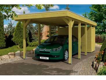 Skanholz SKANHOLZ Set: Einzelcarport »Friesland«, BxT: 314x708 cm, mit Abstellraum, grün, 622 cm, grün