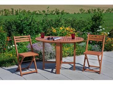 MERXX Gartenmöbelset »Porto«, 3tlg., 2 Sessel, Tisch, klappbar, Eukalyptusholz, natur, natur, natur