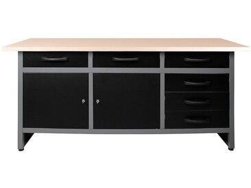 ONDIS24 Werkbank »Karsten«, ca. 160x60x85 cm, schwarz, 85 cm, anthrazit/grau/schwarz