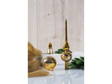 HGD Holz-Glas-Design Glaskugelsortiment Dekor 16teilig, goldfarben, Gold/Satin-Gold