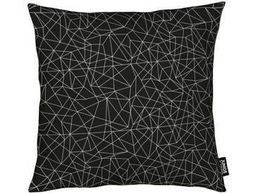 Juniqe Dekokissen »Black Diamond«, Weiches, allergikerfreundliches Material, schwarz, Microfaser, schwarz-weiß