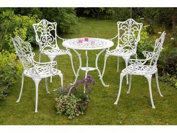 MERXX Gartenmöbelset »Lugano«, 5tlg., 4 Sessel, Tisch Ø 70 cm, Aluminium, weiß, weiß