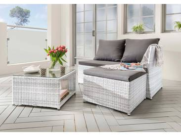 Destiny DESTINY Gartenmöbelset »Loft«, 3-tlg., Bank, Hocker, Tisch 56x56 cm, Polyrattan, weiß, weiß