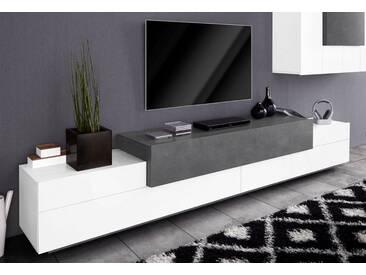 Tecnos Lowboard »Asia«, Breite 270 cm, weiß, weiß Hochglanz/Zement-Optik
