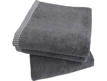 Dyckhoff Handtuch Set »Kachel«, mit gemustertem Saumabschluss, grau, 3tlg.-Set, grau
