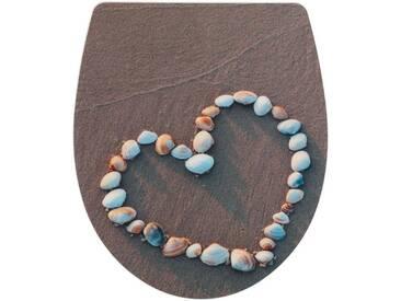 WENKO WC-Sitz »Heartbeach«, grau, weiß/grau/hellbraun