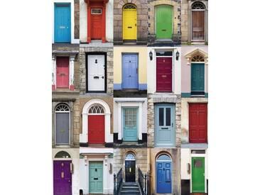 Artland Schlüsselbrett »RTimages: Fotocollage von 32 bunten Haustüren«, 25x20 cm, Farbig