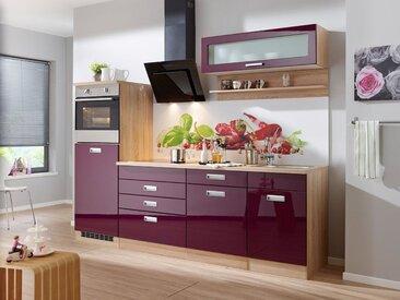 HELD MÖBEL Küchenzeile ohne E-Geräte »Fulda, Breite 240 cm«, lila, ohne Aufbauservice, auberginefarben
