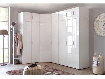 Wimex Eckkleiderschrank »Malta« mit Hochglanz-Front, weiß, Türen: 1, weiß/Hochglanz weiß