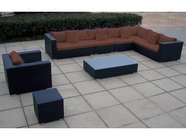Baidani BAIDANI Loungeset »Sunmaster«, 1 XXL Sofa, 1 Sessel, 1 Tisch, 1 Beistelltisch, Polyrattan, schwarz, schwarz/braun
