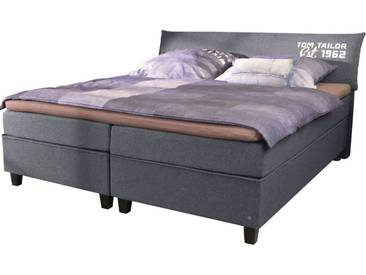 Tom Tailor TOM TAILOR Boxspringbett »COLOR BOX«, Struktur, mit »TOM TAILOR« Print, Überlänge 220 cm, grau, 2 Matratzen H3, dark grey NTBO 9