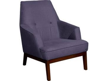 TOM TAILOR Sessel »COZY«, im Retrolook, mit Kedernaht und Knöpfung, Füße nussbaumfarben, lila, purple STC 18