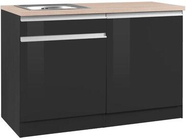 HELD MÖBEL Spülenschrank »Ohio«, Breite 120 cm, mit Tür/Sockel für Geschirrspüler, grau, grau Hochglanz/grafit
