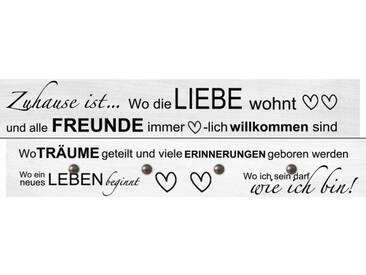 Artland Wandgarderobe »Jule: Wo die Liebe wohnt«, grau, 30 x 90 x 2,8 cm, Grau