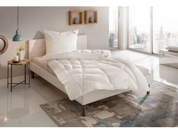 Paradies Kunstfaserbettdecke, »Prosa-Duett«, warm, Bezug: 100% Baumwolle, (1-tlg), weiß