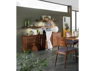 VENJAKOB Sideboard »v-plus«, 2-türig, mit Schubladen, Breite 200 cm, braun, Nussbaum