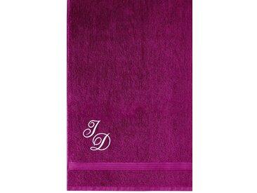 Lashuma Badetuch »Linz«, XXL Saunahandtuch Bestickt mit Monogramm, Persönliches Liegetuch 100x150 cm, lila, beere