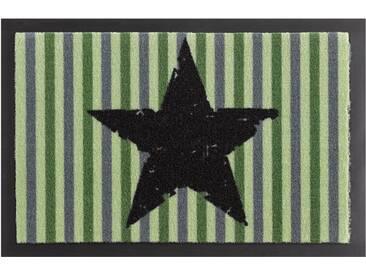 HANSE Home Fußmatte »Stars and Stripes«, rechteckig, Höhe 7 mm, rutschhemmend beschichtet, grün, 7 mm, grün-schwarz