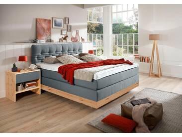 ADA premium Boxspringbett »Chalet«, TF 170 SL PM, blau, 7-Zonen-Tonnentaschenfederkern-Partnermatratze H2/H3, blau-grau TID 9