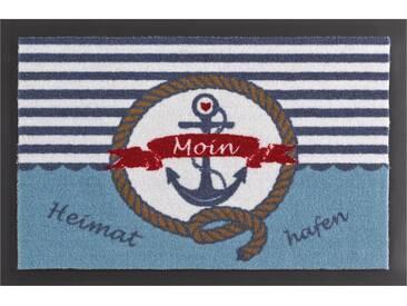 HANSE Home Fußmatte »Heimathafen«, rechteckig, Höhe 7 mm, rutschhemmend beschichtet, blau, 7 mm, blau