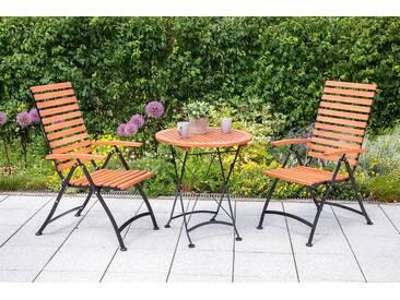 MERXX Gartenmöbelset , 3tlg., 2 Sessel, Tisch, klappbar, Eukalyptusholz, natur, natur