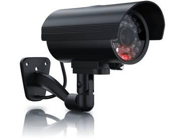 Brandson Sicherheitskamera Attrappe »simuliertes Betriebslicht / authentisches Design«, schwarz, schwarz