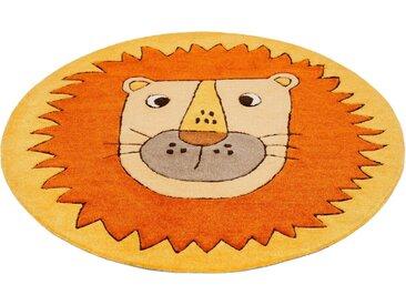 SMART KIDS Kinderteppich »Linus«, rund, Höhe 9 mm, Löwe Tiermotiv, Konturenschnitt