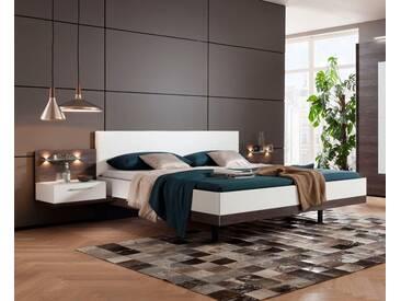 nolte® Möbel Bettanlage »Novara«, inklusive zwei Nachtkonsolen, weiß, Liegefläche 180x200, polarweiß/Eiche dark chocolate