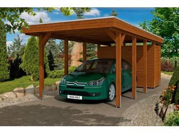 Skanholz SKANHOLZ Set: Einzelcarport »Friesland 2«, BxT: 314x708 cm, nussbaum, braun, 622 cm, braun