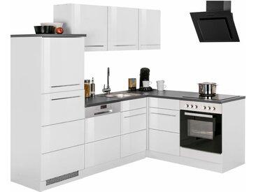 Winkelküche »Trient«, mit E-Geräten, Stellbreite 230 x 170 cm, weiß, weiß Hochglanz