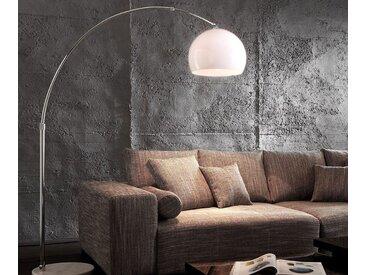 DELIFE Stehlampe Big-Deal Silber höhenverstellbar Bogenleuchte, weiß, 140x40 cm, Material: Metall, Kunststoff, Marmor, Weiß