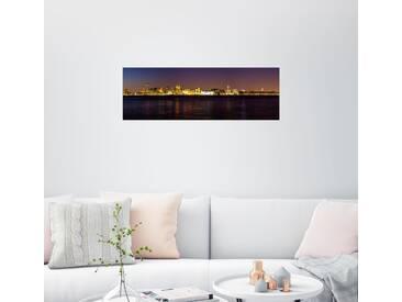 Posterlounge Wandbild - Thomas Hagenau »Liverpool Skyline bei Nacht Panorama«, schwarz, Holzbild, 150 x 50 cm, schwarz