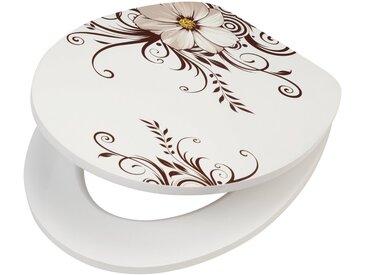 WC-Sitz »Blume«, MDF Toilettensitz mit Absenkautomatik, weiß