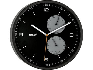 Mebus Wanduhr »52836 Funk-Wanduhr«, schwarz, black