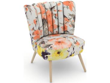 Max Winzer® build-a-chair Stuhlsessel »Aspen« im Retrolook, zum Selbstgestalten, rosa, Korpus: Microvelours Blüte gelb, Microvelours Blüte lachs